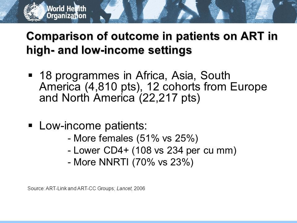 Comparison of outcome in patients on ART in high- and low-income settings 18 programmes in Africa, Asia, South America (4,810 pts), 12 cohorts from Eu