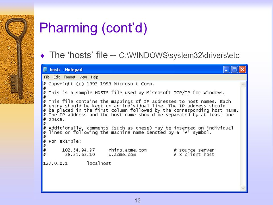13 Pharming (contd) The hosts file -- C:\WINDOWS\system32\drivers\etc
