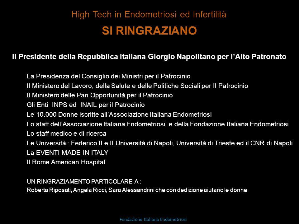 SI RINGRAZIANO Il Presidente della Repubblica Italiana Giorgio Napolitano per lAlto Patronato La Presidenza del Consiglio dei Ministri per il Patrocin