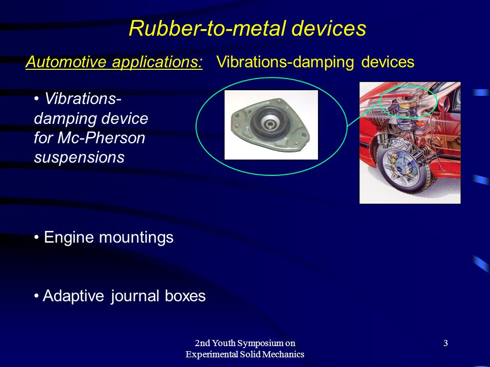 2nd Youth Symposium on Experimental Solid Mechanics 3 Rubber-to-metal devices Automotive applications: Vibrations-damping devices Vibrations- damping