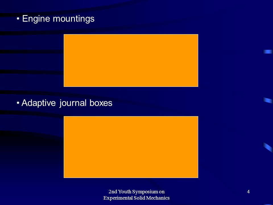 2nd Youth Symposium on Experimental Solid Mechanics 4 Engine mountings Adaptive journal boxes