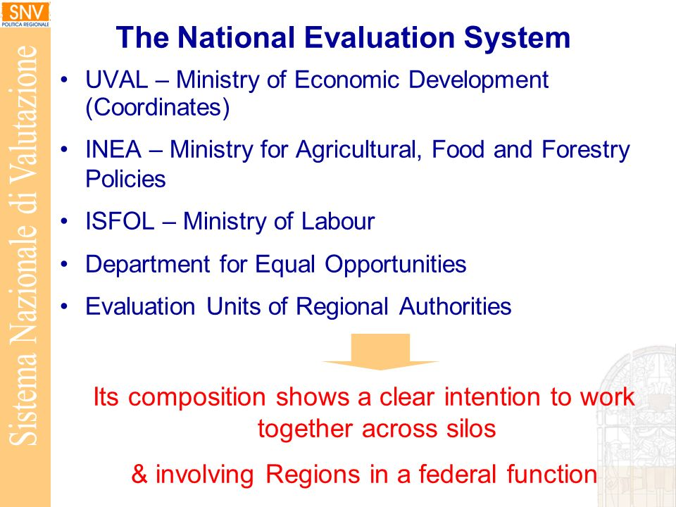 The National Evaluation System UVAL – Ministry of Economic Development (Coordinates) INEA – Ministry for Agricultural, Food and Forestry Policies ISFOL – Ministry of Labour Department for Equal Opportunities Evaluation Units of Regional Authorities Its composition shows a clear intention to work together across silos & involving Regions in a federal function