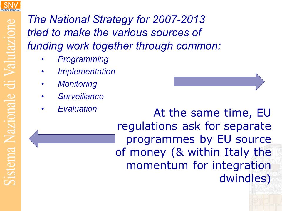 At the same time, EU regulations ask for separate programmes by EU source of money (& within Italy the momentum for integration dwindles) The National Strategy for 2007-2013 tried to make the various sources of funding work together through common: Programming Implementation Monitoring Surveillance Evaluation