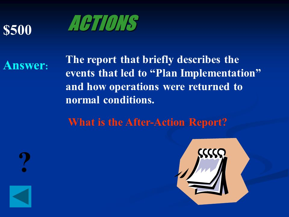 $400 Answer : ? ACTIONS The person who the recovery team contacts to request that the appropriate vendors be contacted to provide additional support a
