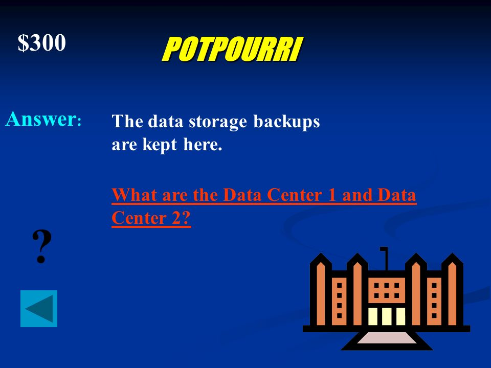 $200 Answer : ? POTPOURRI When recovering the Data Center or any part of the Data Center, the recovery procedures should follow a logical order. What