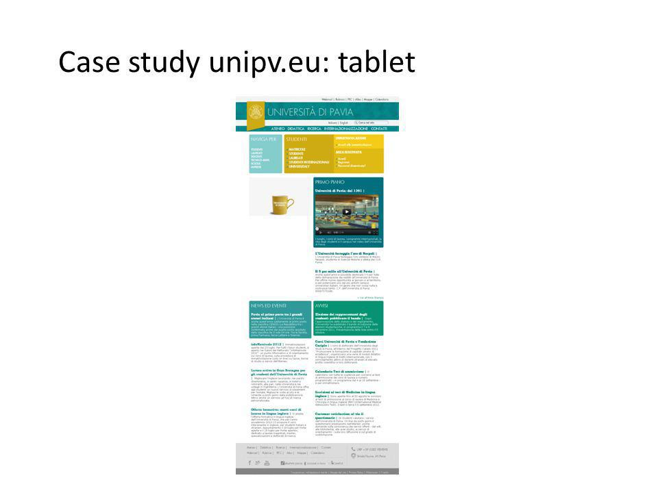 Case study unipv.eu: tablet