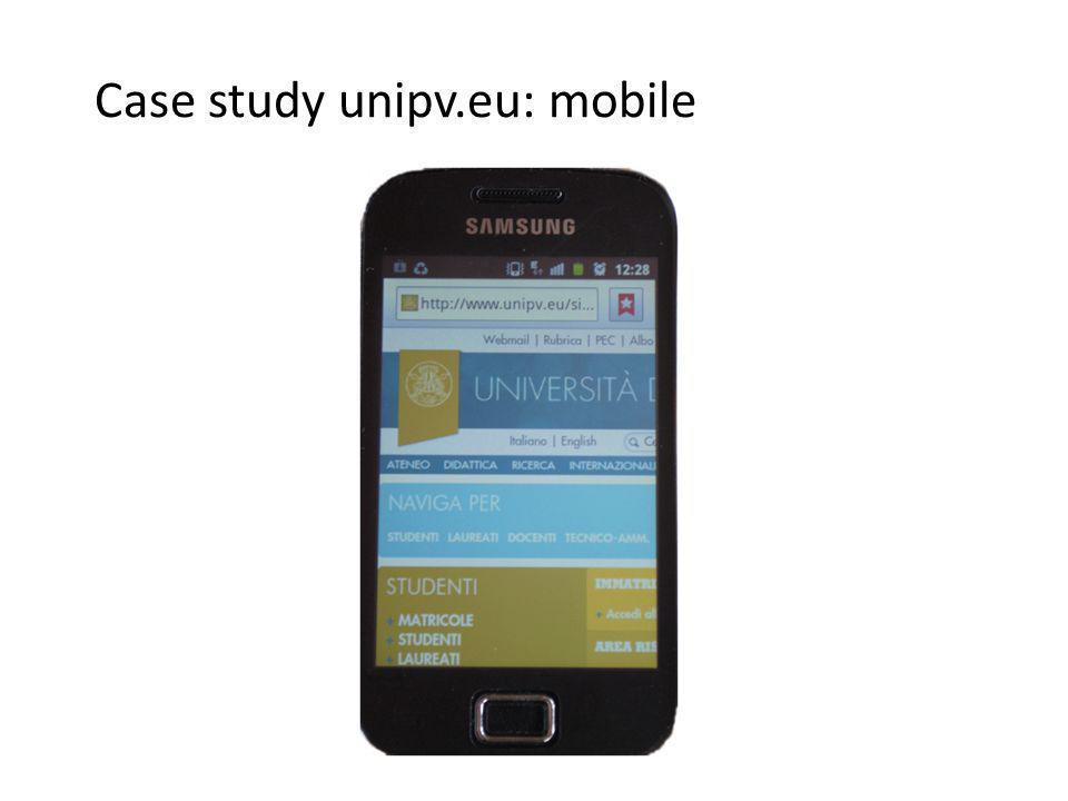 Case study unipv.eu: mobile