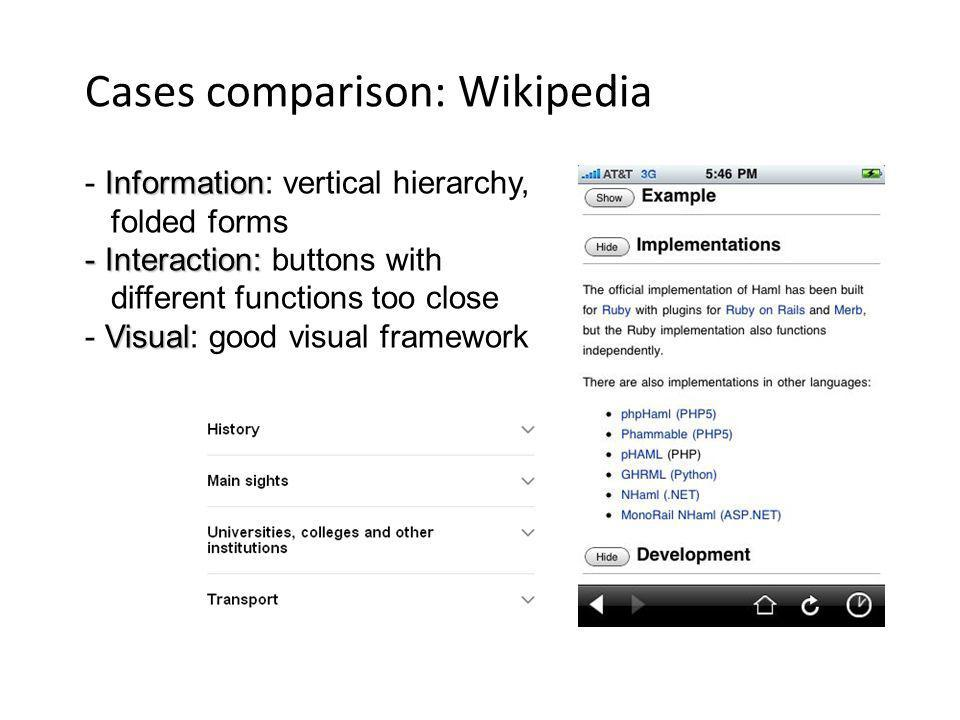 Cases comparison: Wikipedia Information - Information: vertical hierarchy, folded forms - Interaction: - Interaction: buttons with different functions too close Visual - Visual: good visual framework