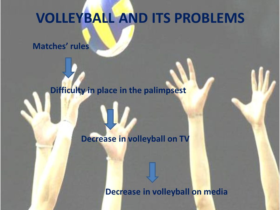 VOLLEYBALL AND ITS PROBLEMS Matches rules Difficulty in place in the palimpsest Decrease in volleyball on TV Decrease in volleyball on media