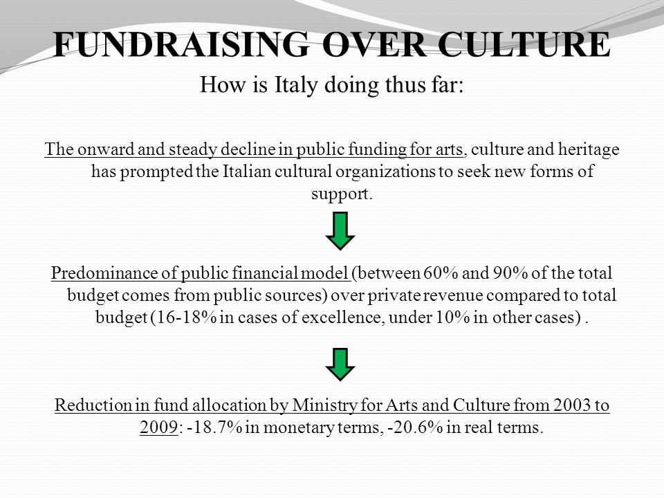 FUNDRAISING OVER CULTURE How is Italy doing thus far: The onward and steady decline in public funding for arts, culture and heritage has prompted the Italian cultural organizations to seek new forms of support.