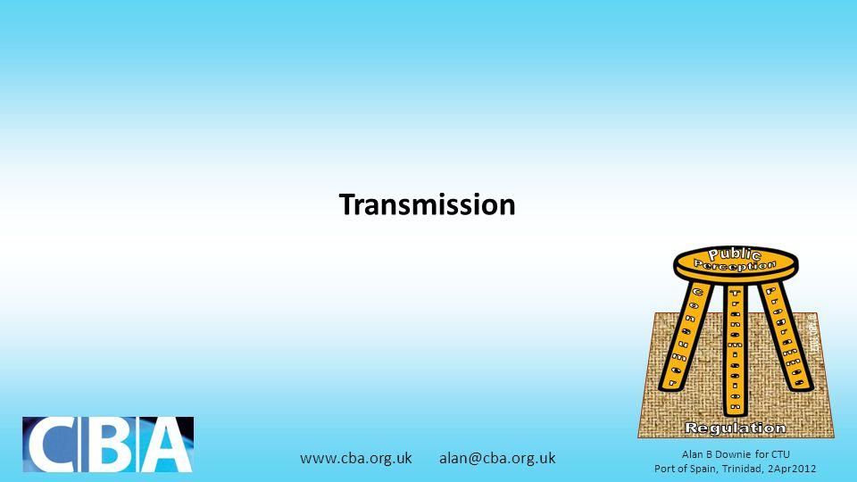www.cba.org.uk alan@cba.org.uk Alan B Downie for CTU Port of Spain, Trinidad, 2Apr2012 Transmission
