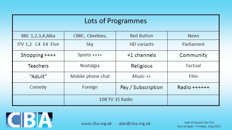www.cba.org.uk alan@cba.org.uk Alan B Downie for CTU Port of Spain, Trinidad, 2Apr2012 Lots of Programmes BBC 1,2,3,4,AlbaCBBC, Cbeebies,Red ButtonNew