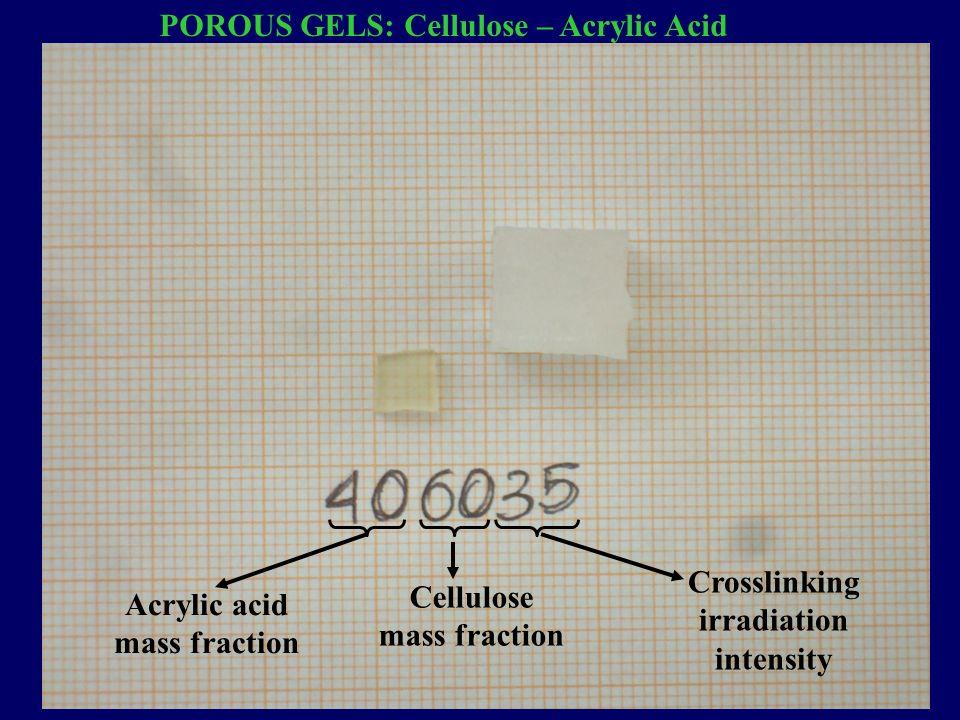 POROUS GELS: Cellulose – Acrylic Acid Acrylic acid mass fraction Cellulose mass fraction Crosslinking irradiation intensity