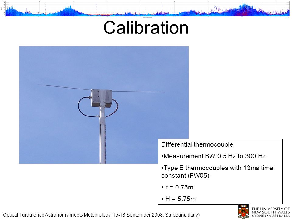 Calibration Differential thermocouple Measurement BW 0.5 Hz to 300 Hz. Type E thermocouples with 13ms time constant (FW05). r = 0.75m H = 5.75m Optica