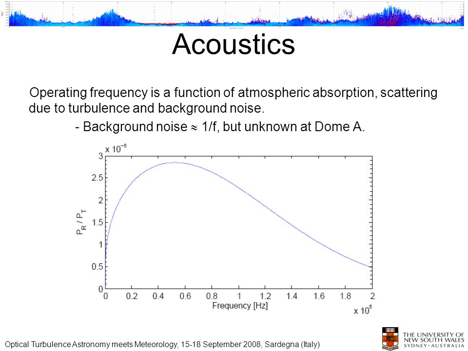 Acoustics Operating frequency is a function of atmospheric absorption, scattering due to turbulence and background noise. - Background noise 1/f, but
