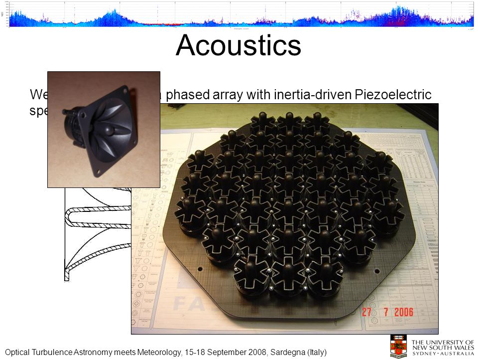 Acoustics We initially looked at a phased array with inertia-driven Piezoelectric speakers. Optical Turbulence Astronomy meets Meteorology, 15-18 Sept