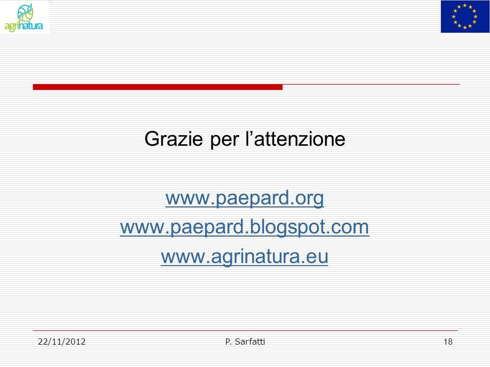 Grazie per lattenzione www.paepard.org www.paepard.blogspot.com www.agrinatura.eu P. Sarfatti22/11/2012 18