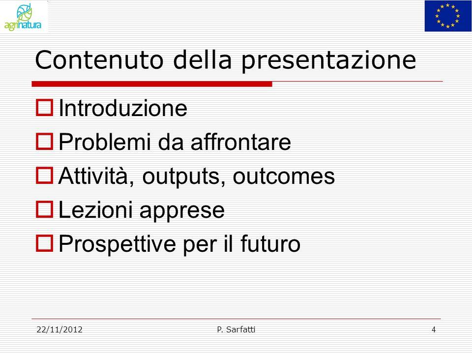 Contenuto della presentazione Introduzione Problemi da affrontare Attività, outputs, outcomes Lezioni apprese Prospettive per il futuro P. Sarfatti22/
