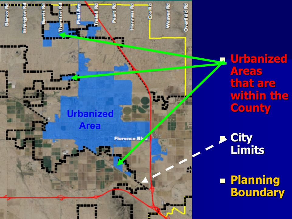 Urbanized Areas that are within the County Urbanized Areas that are within the County City Limits City Limits Planning Boundary Planning Boundary Urbanized Area