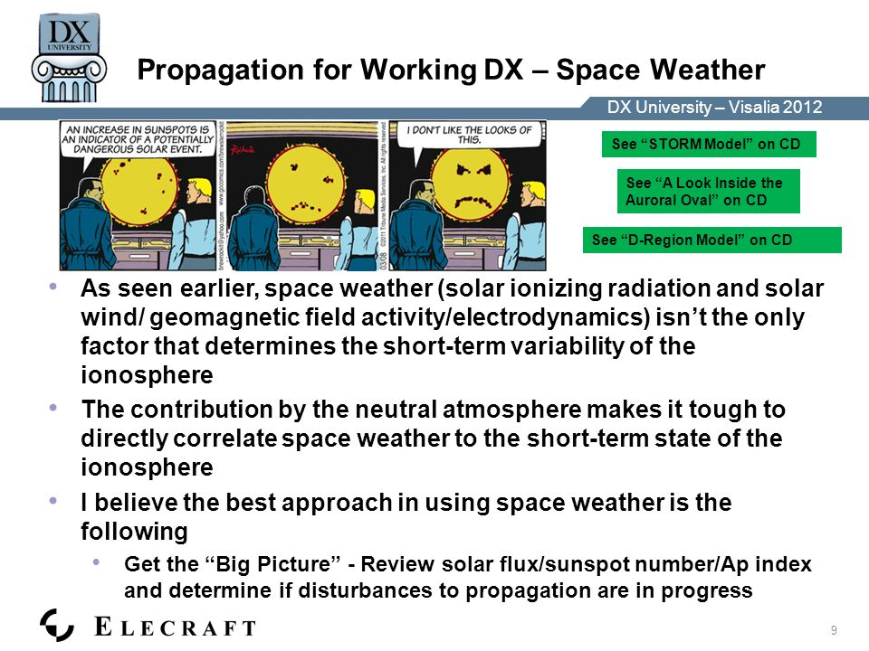 DX University – Visalia 2012 9 Propagation for Working DX – Space Weather As seen earlier, space weather (solar ionizing radiation and solar wind/ geomagnetic field activity/electrodynamics) isnt the only factor that determines the short-term variability of the ionosphere The contribution by the neutral atmosphere makes it tough to directly correlate space weather to the short-term state of the ionosphere I believe the best approach in using space weather is the following Get the Big Picture - Review solar flux/sunspot number/Ap index and determine if disturbances to propagation are in progress See STORM Model on CD See A Look Inside the Auroral Oval on CD See D-Region Model on CD