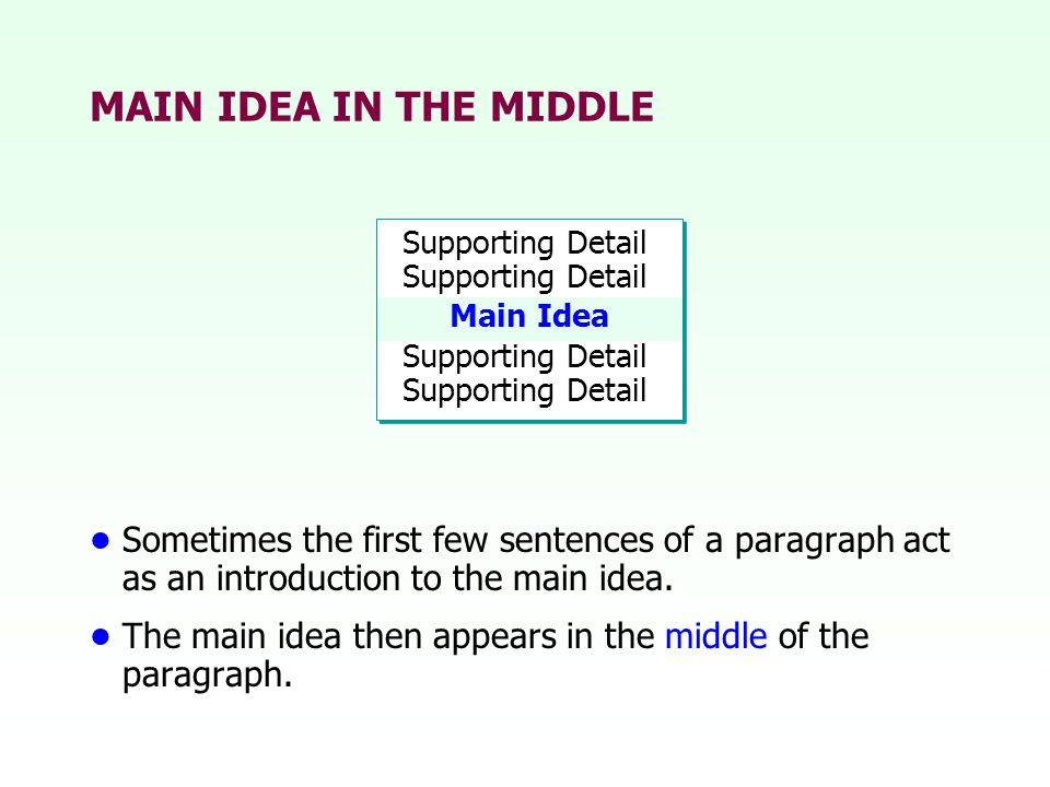 MAIN IDEA IN THE MIDDLE Supporting Detail Sometimes the first few sentences of a paragraph act as an introduction to the main idea. The main idea then