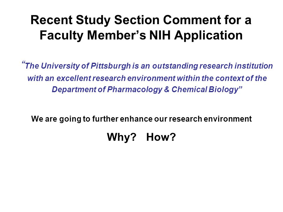 Recent Study Section Comment for a Faculty Members NIH Application The University of Pittsburgh is an outstanding research institution with an excelle
