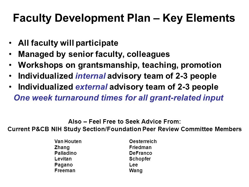 Faculty Development Plan – Key Elements All faculty will participate Managed by senior faculty, colleagues Workshops on grantsmanship, teaching, promo