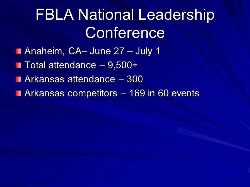 FBLA National Leadership Conference Anaheim, CA– June 27 – July 1 Total attendance – 9,500+ Arkansas attendance – 300 Arkansas competitors – 169 in 60