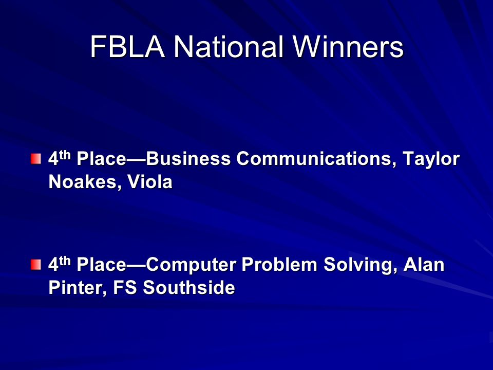 FBLA National Winners 4 th PlaceBusiness Communications, Taylor Noakes, Viola 4 th PlaceComputer Problem Solving, Alan Pinter, FS Southside