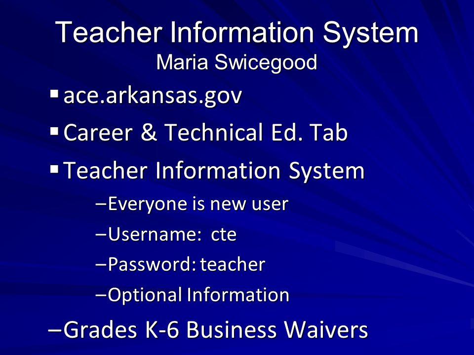 Teacher Information System Maria Swicegood ace.arkansas.gov ace.arkansas.gov Career & Technical Ed. Tab Career & Technical Ed. Tab Teacher Information