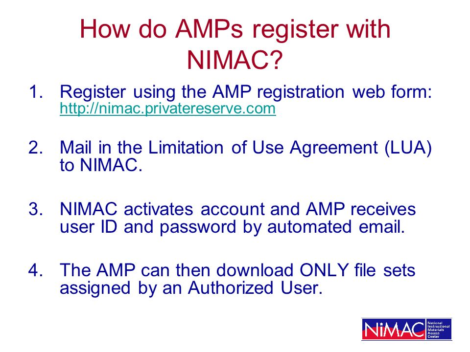 How do AMPs register with NIMAC.