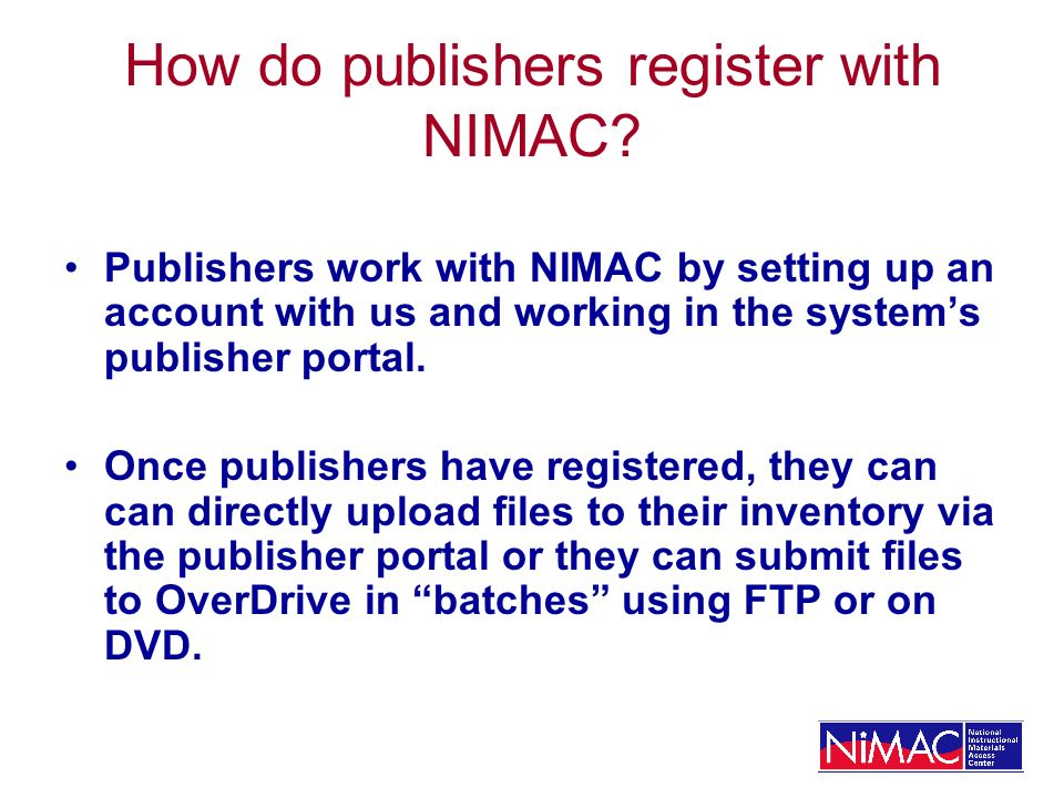 How do publishers register with NIMAC.