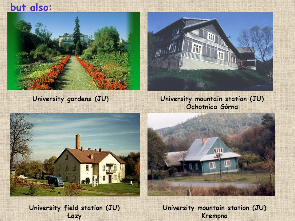 but also: University gardens (JU)University mountain station (JU) Ochotnica Górna University field station (JU) Łazy University mountain station (JU)
