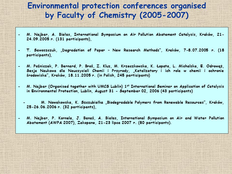 Environmental protection conferences organised by Faculty of Chemistry (2005-2007) -M. Najbar, A. Białas, International Symposium on Air Pollution Aba
