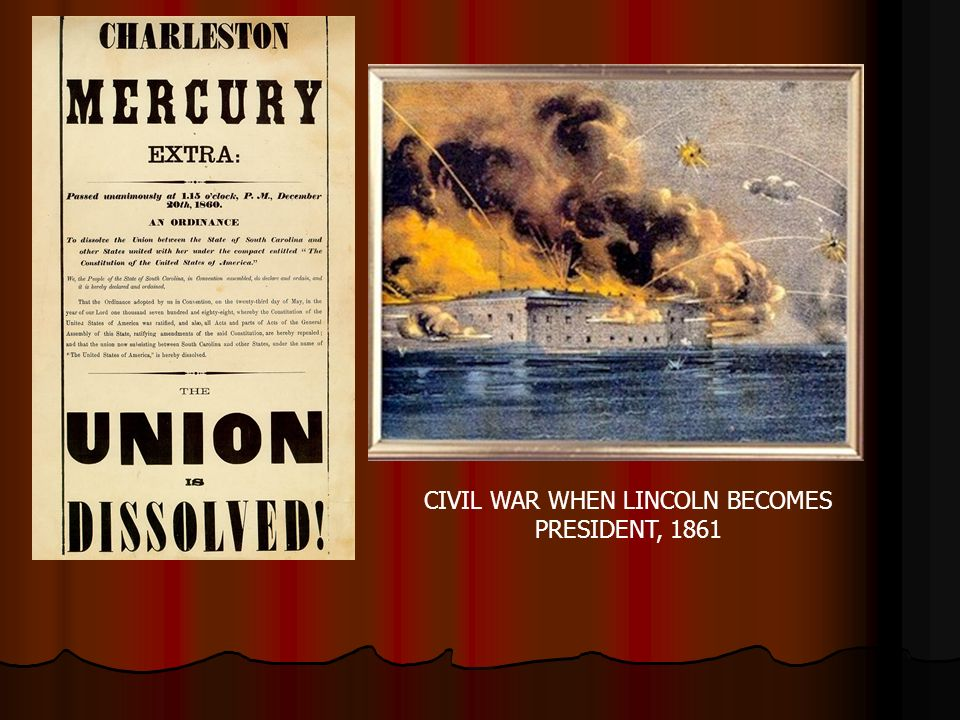 CIVIL WAR WHEN LINCOLN BECOMES PRESIDENT, 1861