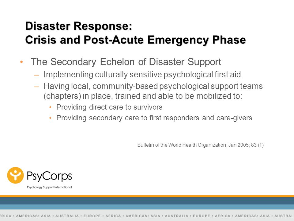 Disaster Response: Crisis and Post-Acute Emergency Phase The Secondary Echelon of Disaster Support –Implementing culturally sensitive psychological fi