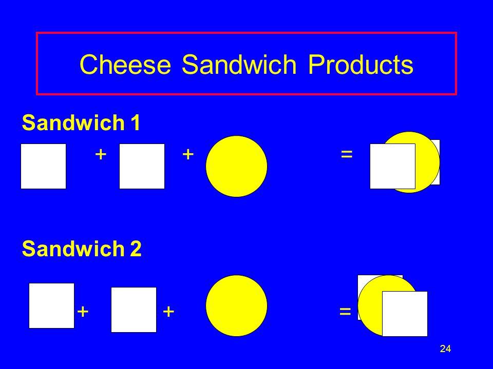 24 Cheese Sandwich Products Sandwich 1 + + = Sandwich 2 + + =