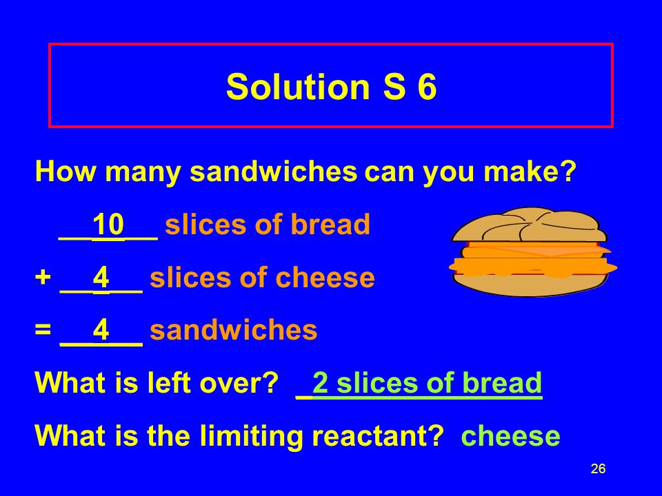 26 Solution S 6 How many sandwiches can you make? __10__ slices of bread + __4__ slices of cheese = __4__ sandwiches What is left over? _2 slices of b