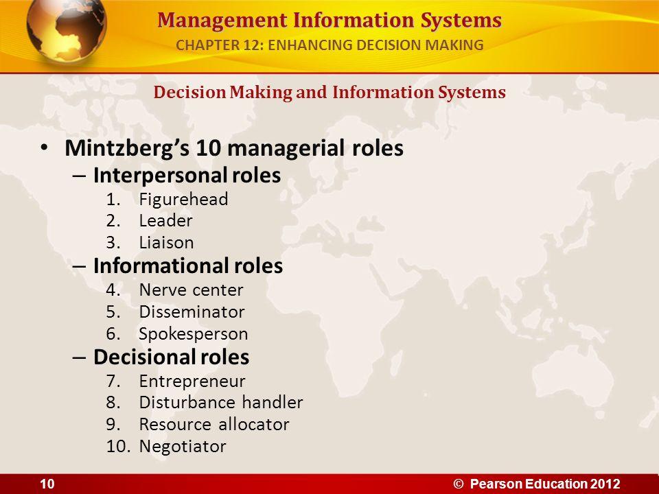 Management Information Systems Mintzbergs 10 managerial roles – Interpersonal roles 1.Figurehead 2.Leader 3.Liaison – Informational roles 4.Nerve cent
