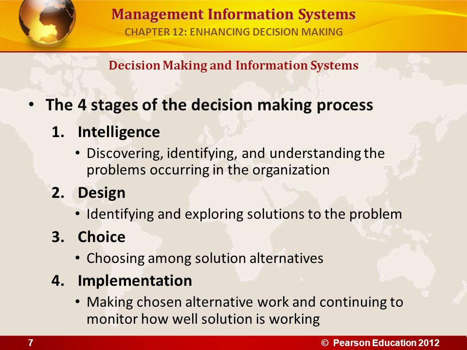 Management Information Systems The 4 stages of the decision making process 1.Intelligence Discovering, identifying, and understanding the problems occ