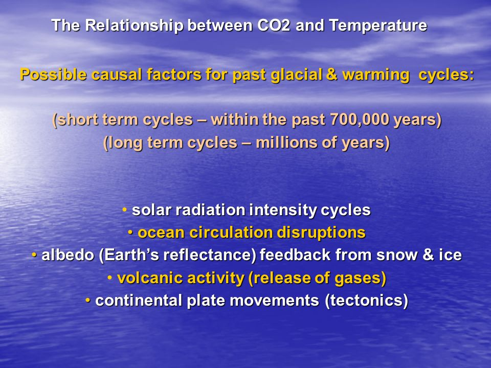 The Relationship between CO2 and Temperature Possible causal factors for past glacial & warming cycles: (short term cycles – within the past 700,000 y