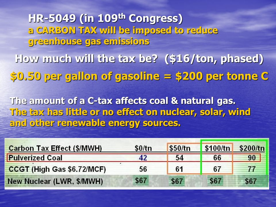 HR-5049 (in 109 th Congress) a CARBON TAX will be imposed to reduce greenhouse gas emissions How much will the tax be? ($16/ton, phased) $0.50 per gal