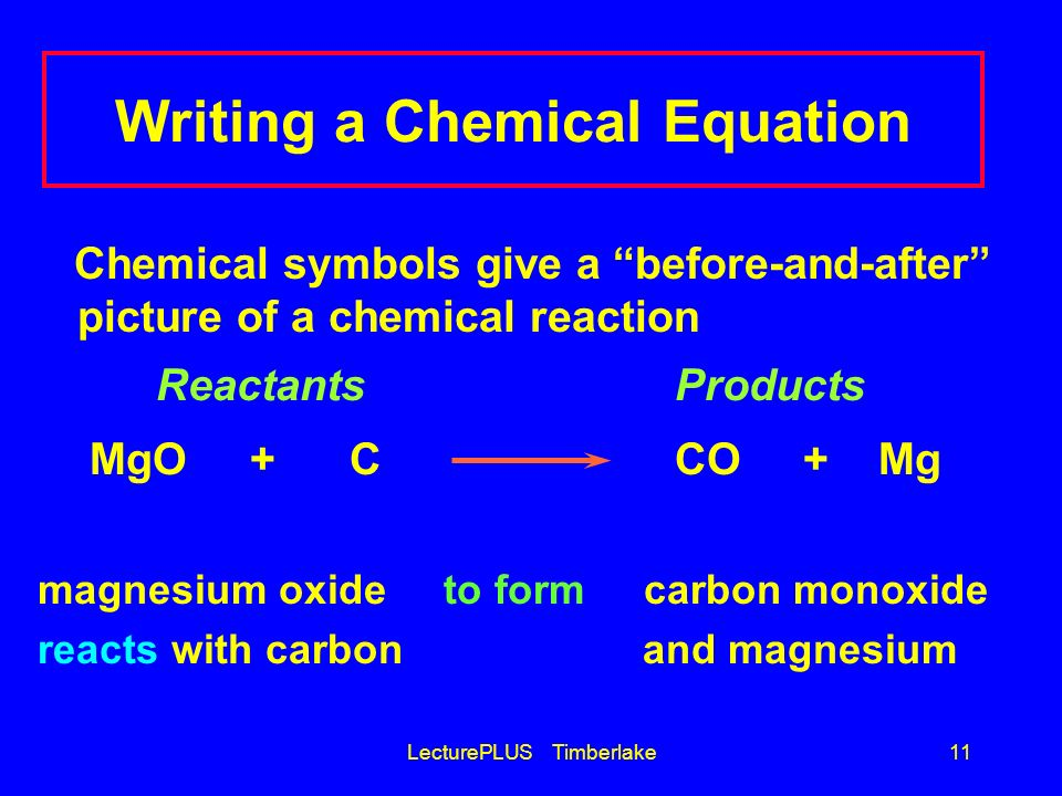 LecturePLUS Timberlake11 Writing a Chemical Equation Chemical symbols give a before-and-after picture of a chemical reaction ReactantsProducts MgO + C