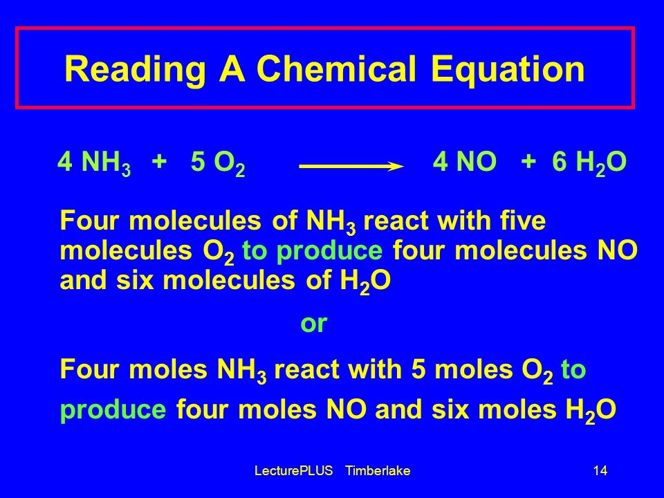 LecturePLUS Timberlake14 Reading A Chemical Equation 4 NH 3 + 5 O 2 4 NO + 6 H 2 O Four molecules of NH 3 react with five molecules O 2 to produce fou
