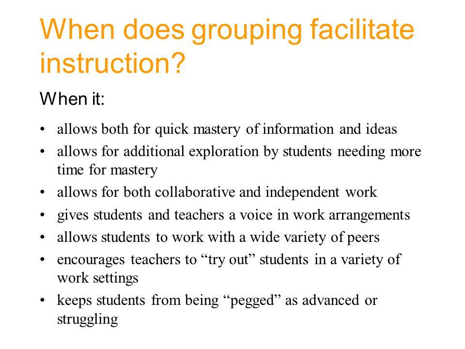 Grouping Method Teacher Assigned Student Selected Random