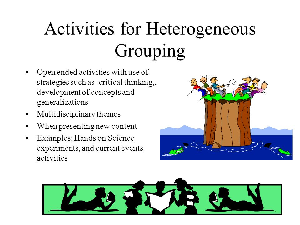 Activities for Heterogeneous Grouping Open ended activities with use of strategies such as critical thinking,, development of concepts and generalizat