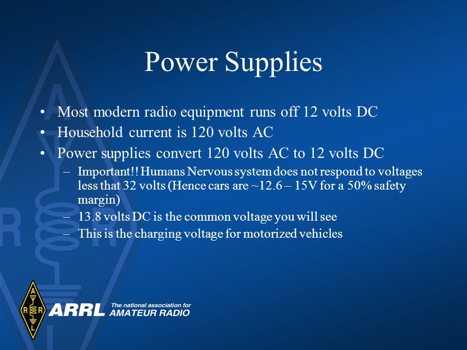 Power Supplies Most modern radio equipment runs off 12 volts DC Household current is 120 volts AC Power supplies convert 120 volts AC to 12 volts DC –
