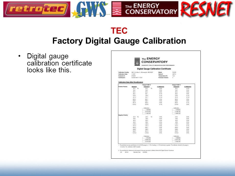TEC Factory Digital Gauge Calibration Digital gauge calibration certificate looks like this.