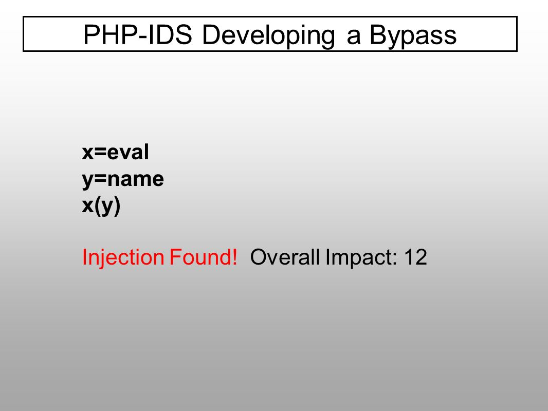 PHP-IDS Developing a Bypass x=eval y=name x(y) Injection Found! Overall Impact: 12