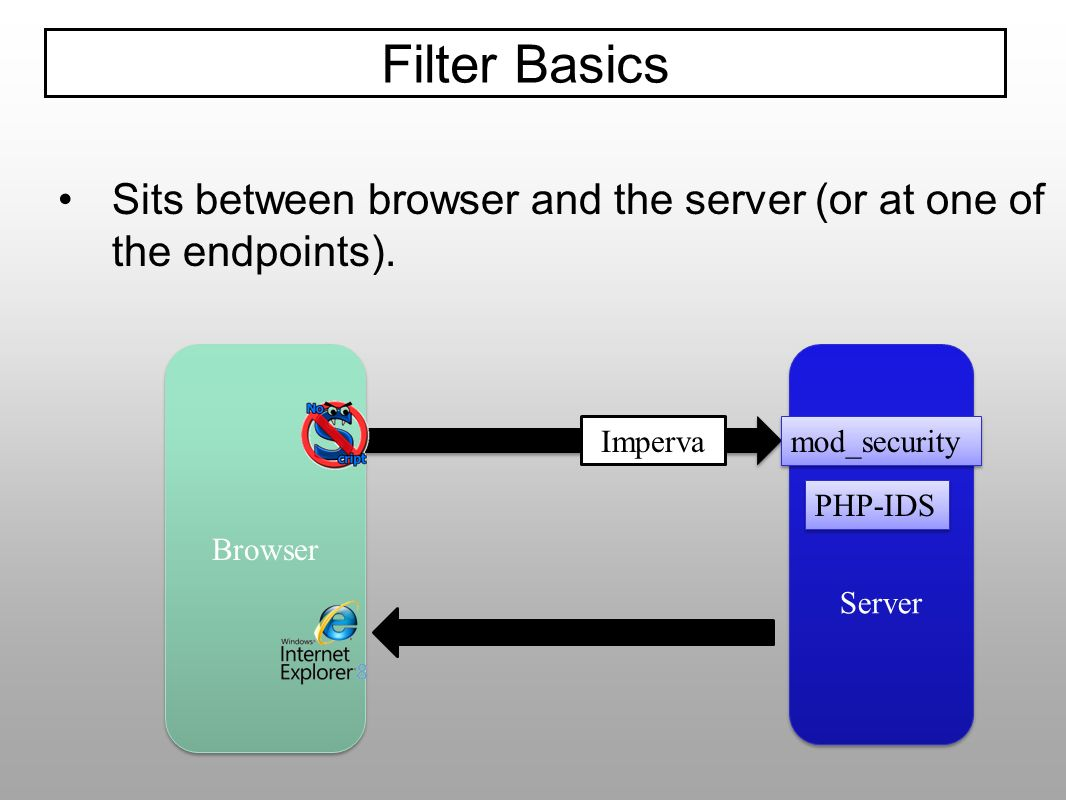 Sits between browser and the server (or at one of the endpoints). Filter Basics Browser Server mod_security PHP-IDS Imperva